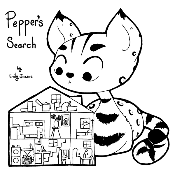 Pepper's Search by Emily Jeanne. Image: Pepper the leopard-spotted cat looks curiously over a cartoon cross-section of a house.