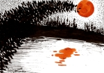 A silhouetted pine tree leans over a lake, partially overlapping a bright orange moon which is reflected in the lake.